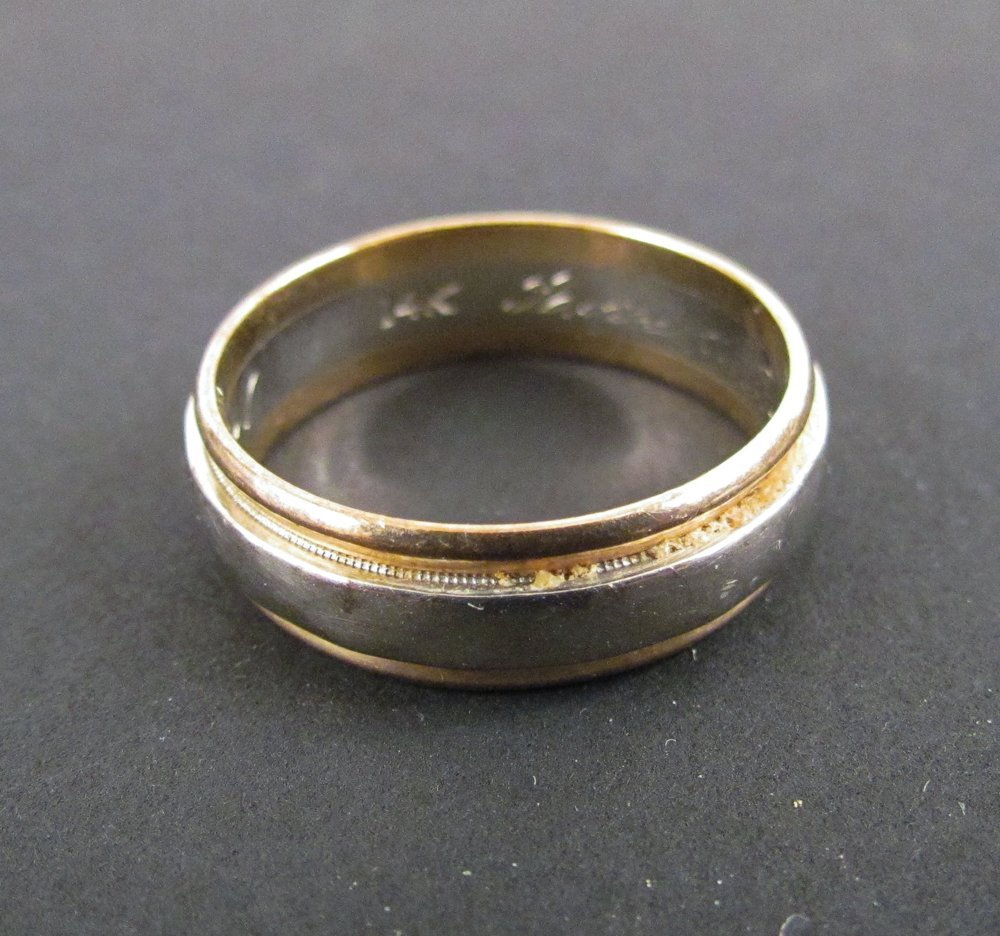 Men's Yellow and White Gold Wedding Band
