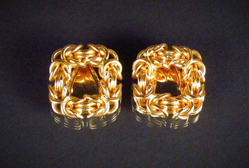 18k Gold Square Clip Earrings
