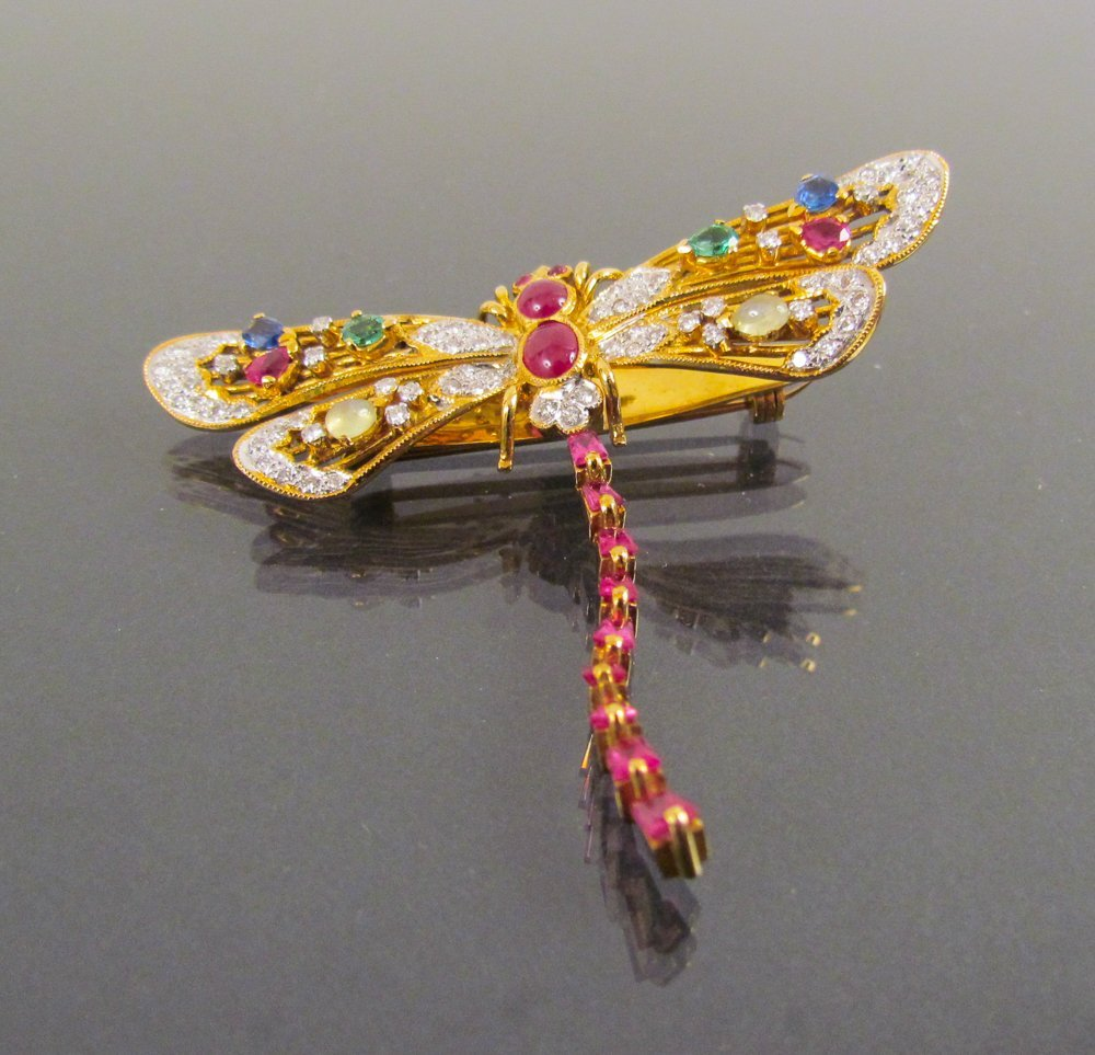 "Dragonfly Brooch, ""Au Tremblant"", 18k Gold"