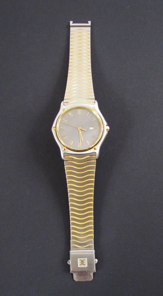 Ebel 18k and Stainless Classic Wave Men's Wrist Watch