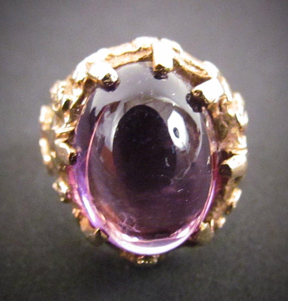 14k and Cabochon Amethyst Ring