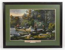 Currier  Ives Life in the Woods chromolithograph