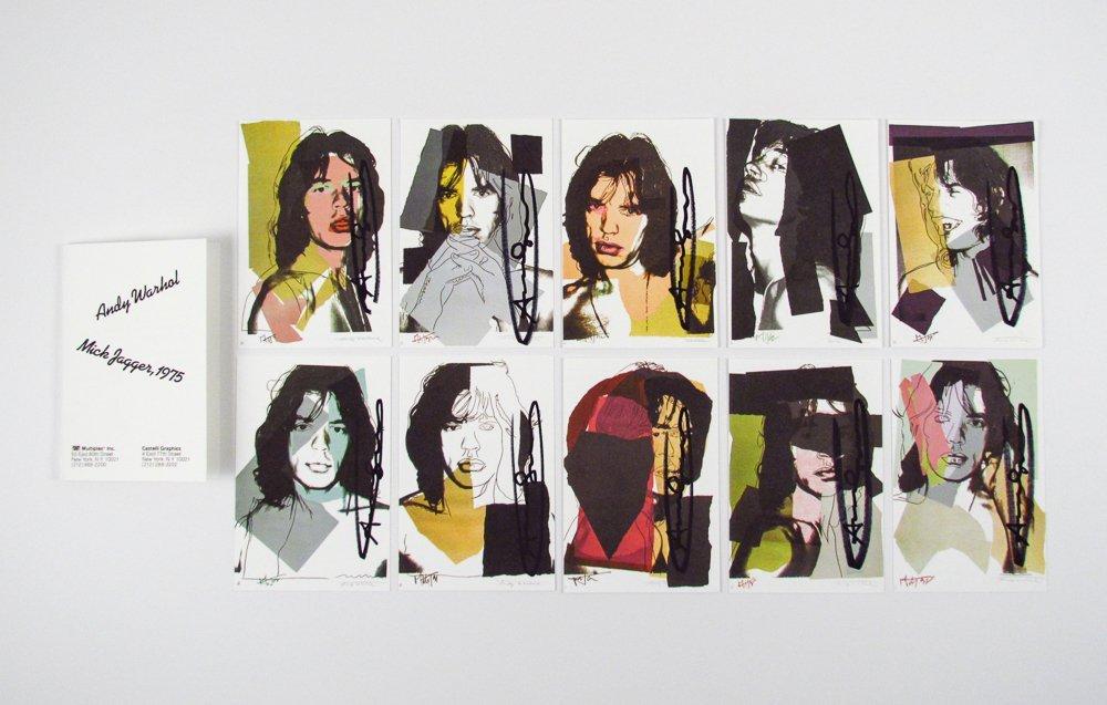 10 Warhol signed Mick Jagger Postcards
