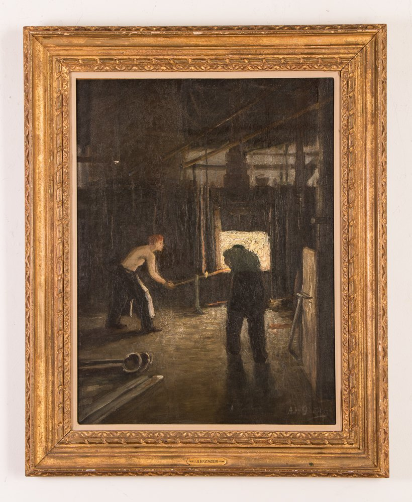"Aaron Gorson ptg. ""Two Smelters Inside of The Hot Mill"""