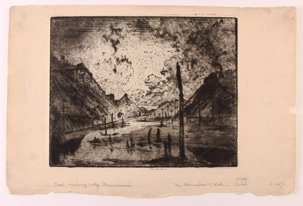 Joseph Pennell The Abomination of Work Trial etching