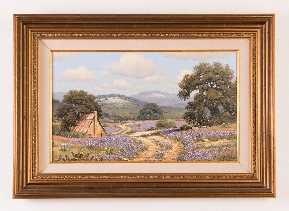 Randy Peyton painting Texas Landscape w Bluebonnets