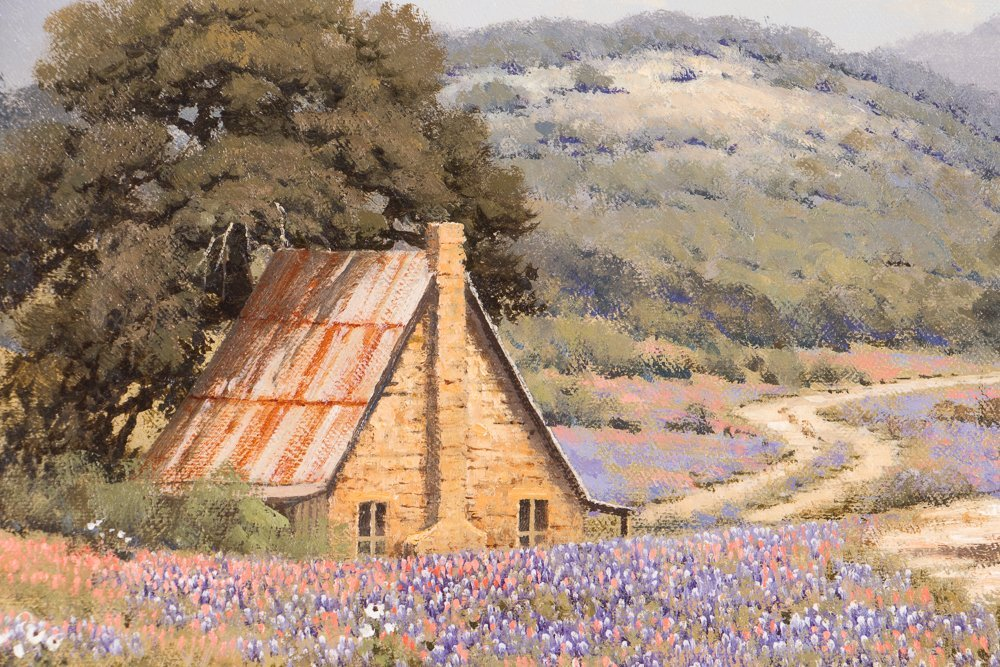 Randy Peyton painting Texas Landscape w Bluebonnets - 3