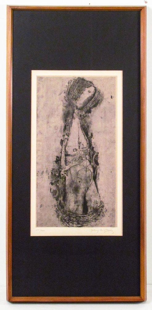 "Johnny Friedlaender etching and aquatint ""Untitled"""