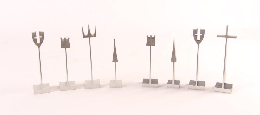 Austin E. Cox Aluminum Modernist Chess Set 1962 - 3