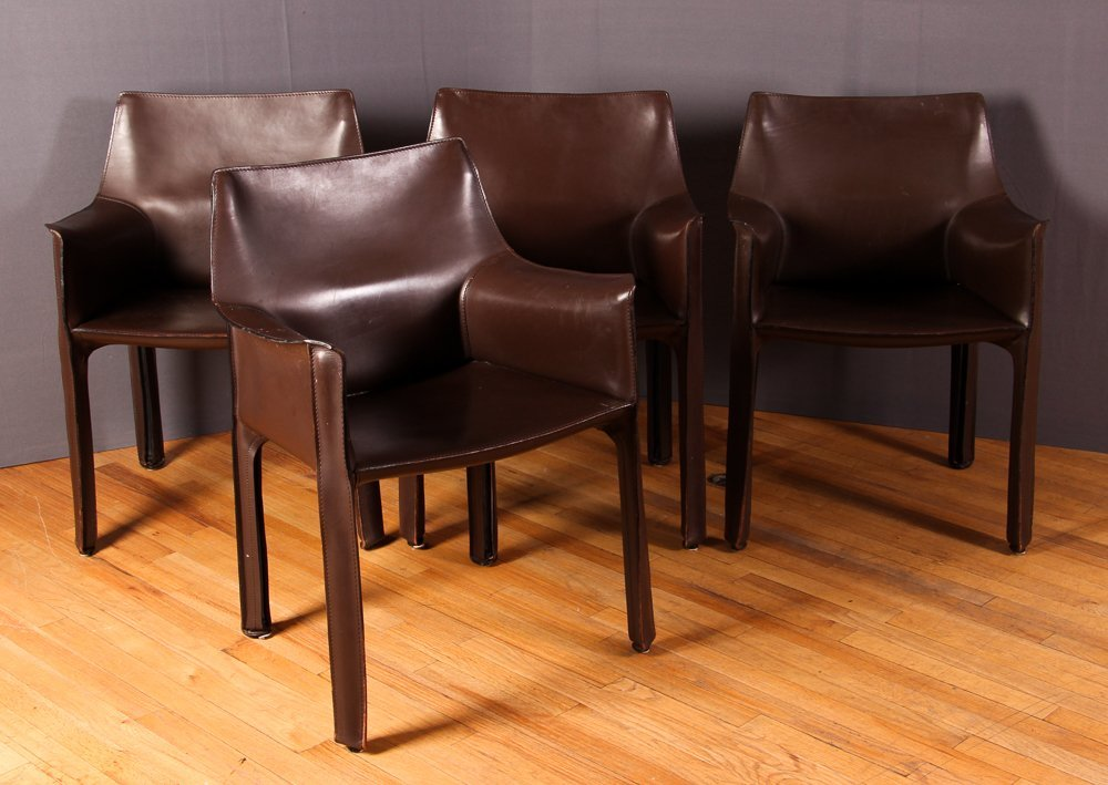 "4 Mario Bellini ""Cab 413"" Leather Chairs Cassina"