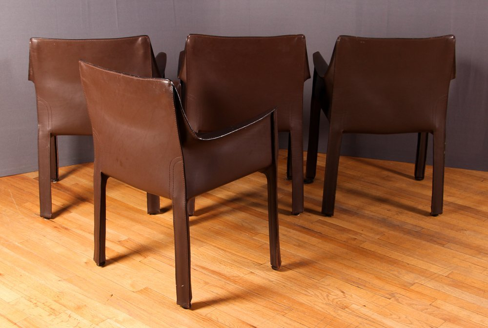 "4 Mario Bellini ""Cab 413"" Leather Chairs Cassina - 2"