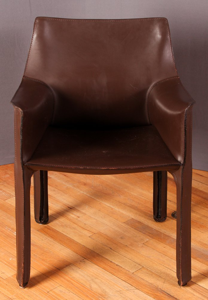 "4 Mario Bellini ""Cab 413"" Leather Chairs Cassina - 3"