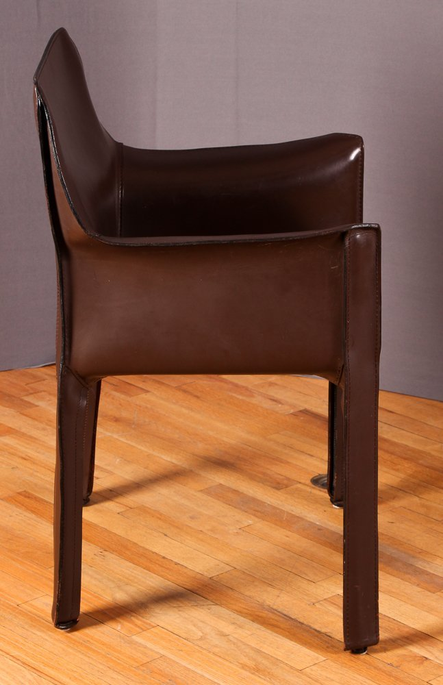 "4 Mario Bellini ""Cab 413"" Leather Chairs Cassina - 4"