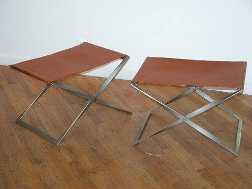 455: Two PK91 Folding Stools: Poul Kjaerholm designer