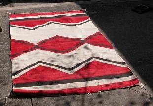 Red, Brown and Beige Native American woven rug