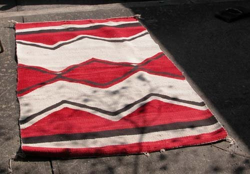 482: Red, Brown and Beige Native American woven rug