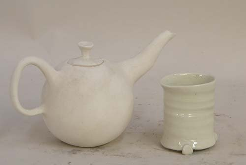 492: Bisque Teapot and Glazed Cup: Jerry Caplan