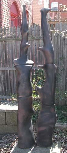 775: Black Pipe Sculpture of Touching Forms: Caplan, J.