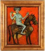 """Henry Faulkner oil  """"Nude Woman of Horseback"""""""