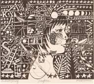 """Yasuhide Kobashi woodcut """"Profile"""""""