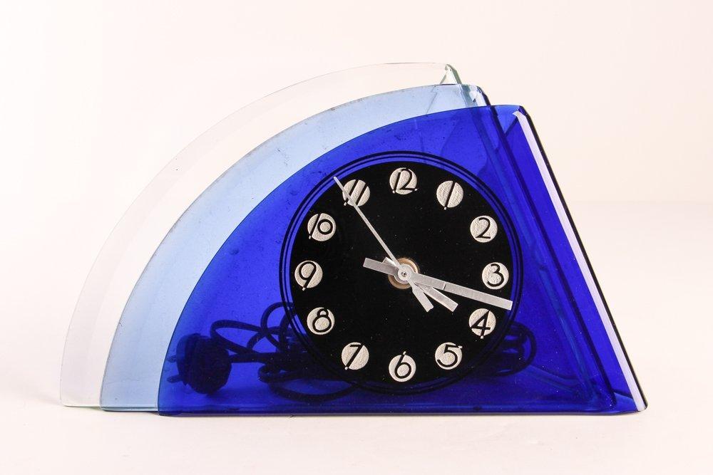 Aqua Glass Crystal Bent Fyrart Waltham Clock