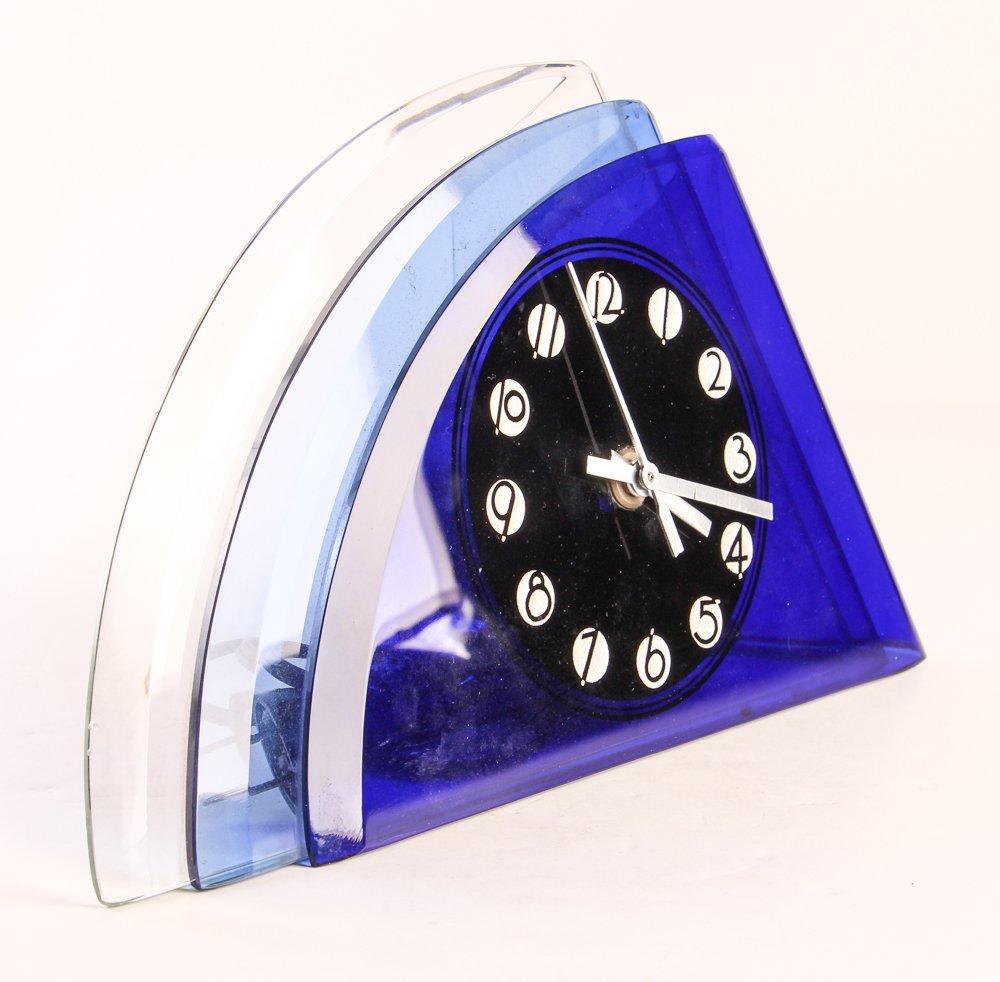 Aqua Glass Crystal Bent Fyrart Waltham Clock - 2