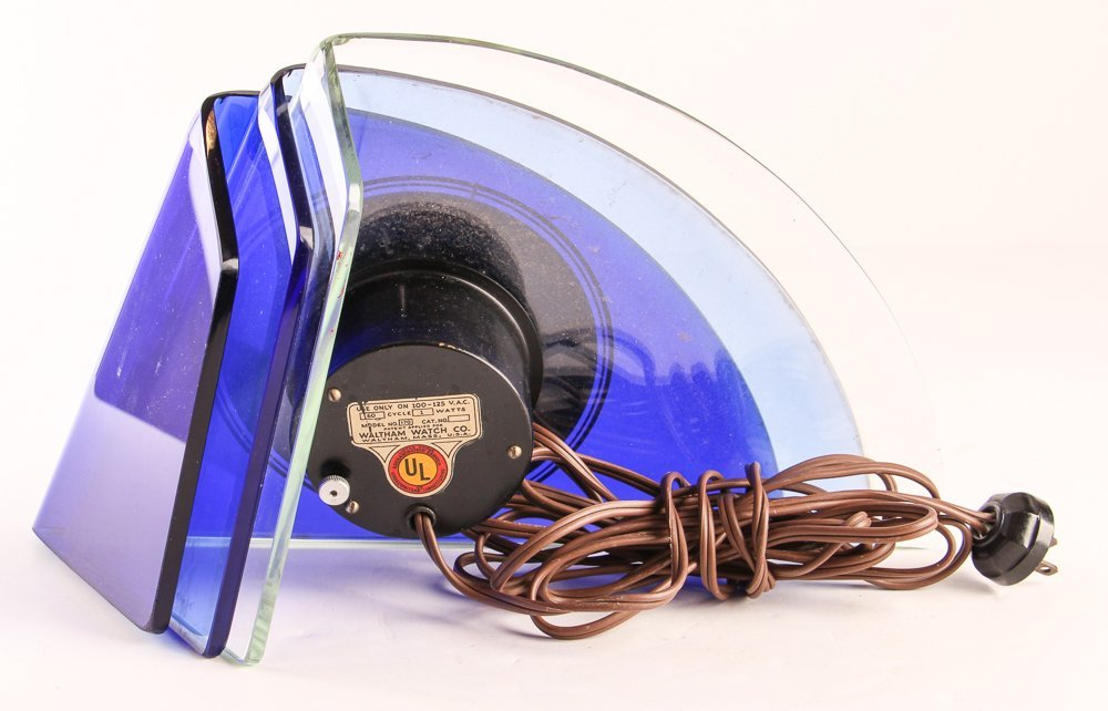 Aqua Glass Crystal Bent Fyrart Waltham Clock - 4