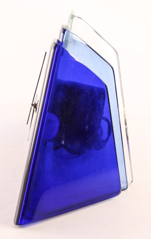 Aqua Glass Crystal Bent Fyrart Waltham Clock - 5