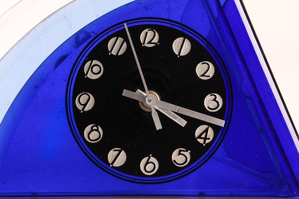 Aqua Glass Crystal Bent Fyrart Waltham Clock - 6