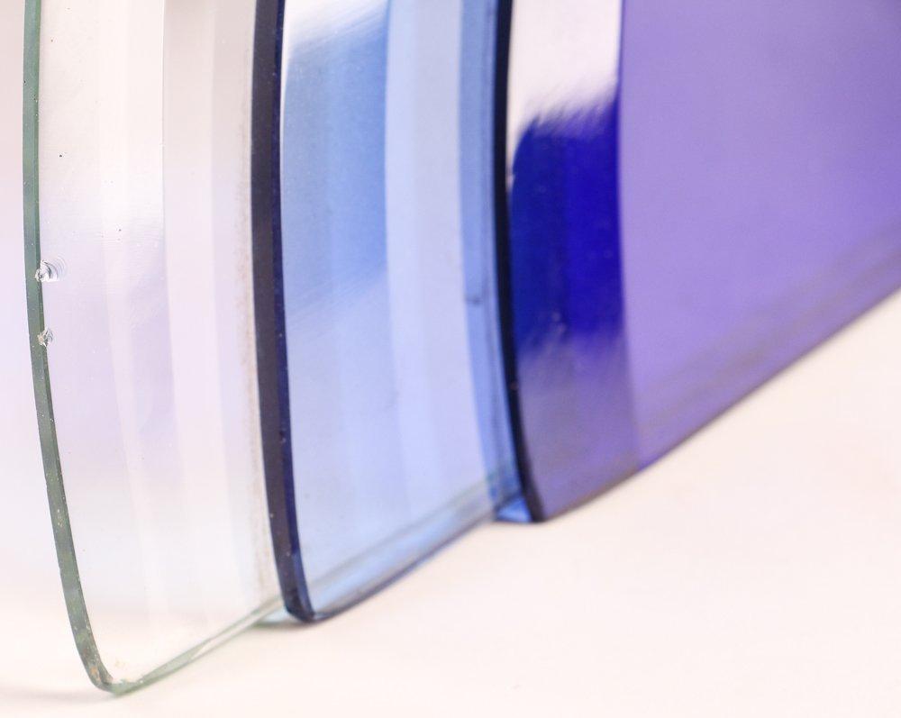 Aqua Glass Crystal Bent Fyrart Waltham Clock - 7