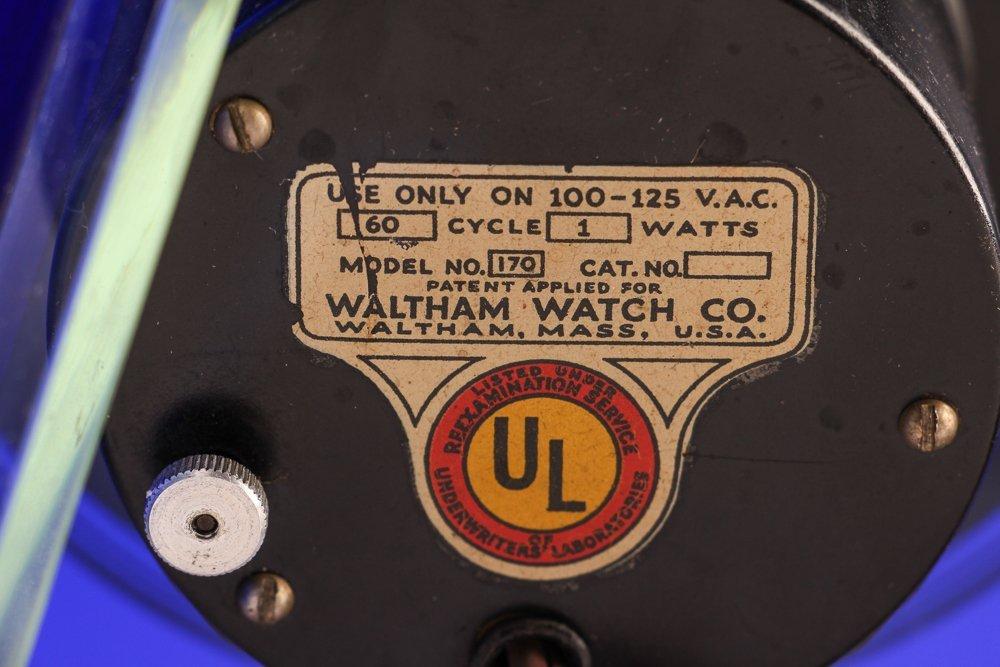 Aqua Glass Crystal Bent Fyrart Waltham Clock - 8
