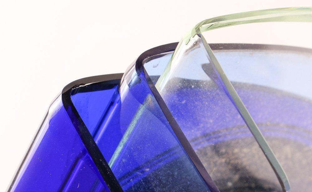 Aqua Glass Crystal Bent Fyrart Waltham Clock - 9