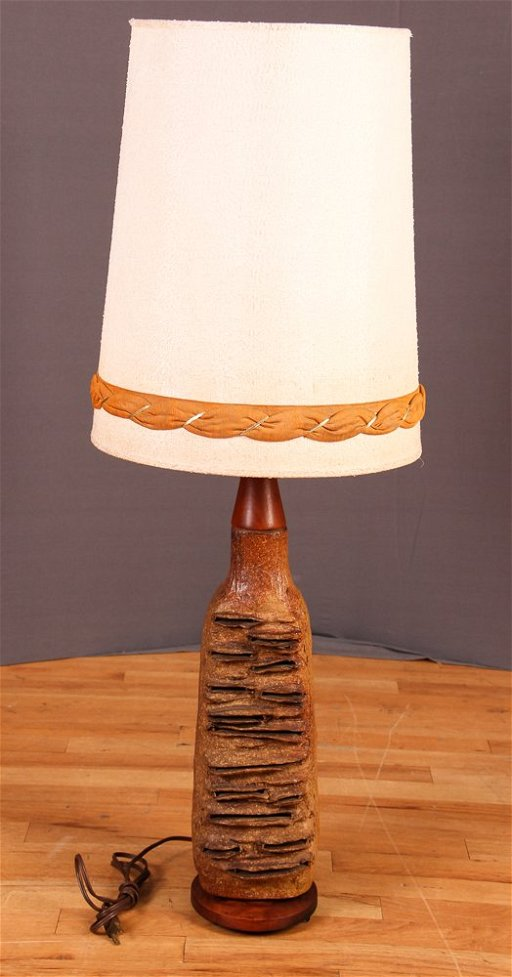 Kalla Hand Thrown Pottery Table Lamp w Oblong Holes