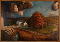 R. D. Long Oil Overcast Farm Scene Painting