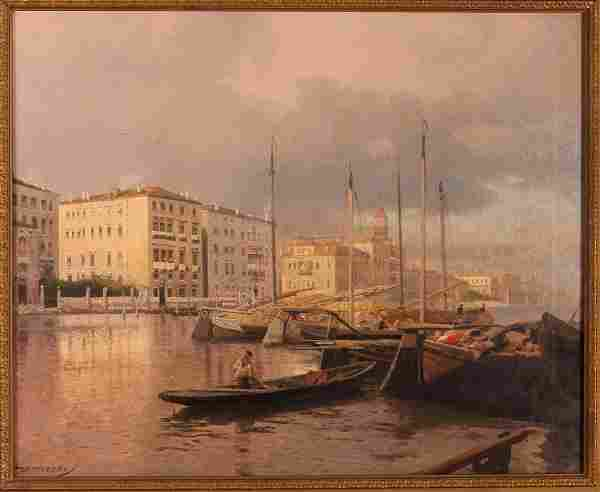 Hermann Herzog Venetian Canal oil on canvas