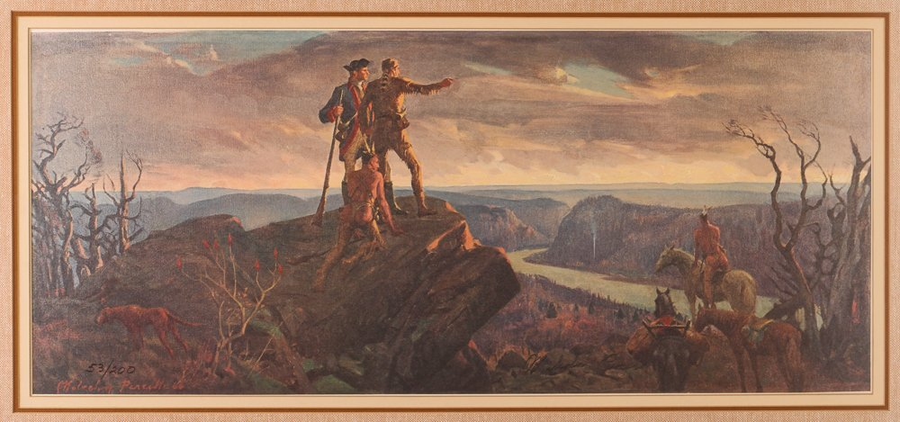"""Malcolm Parcell """"Washington and Gist 1750"""" litho"""