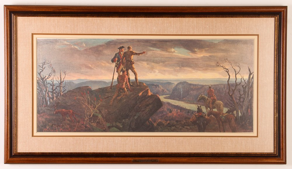 """Malcolm Parcell """"Washington and Gist 1750"""" litho - 2"""
