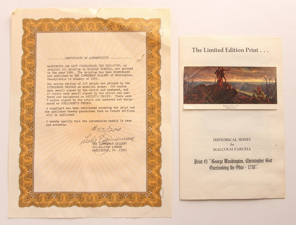 """Malcolm Parcell """"Washington and Gist 1750"""" litho - 7"""