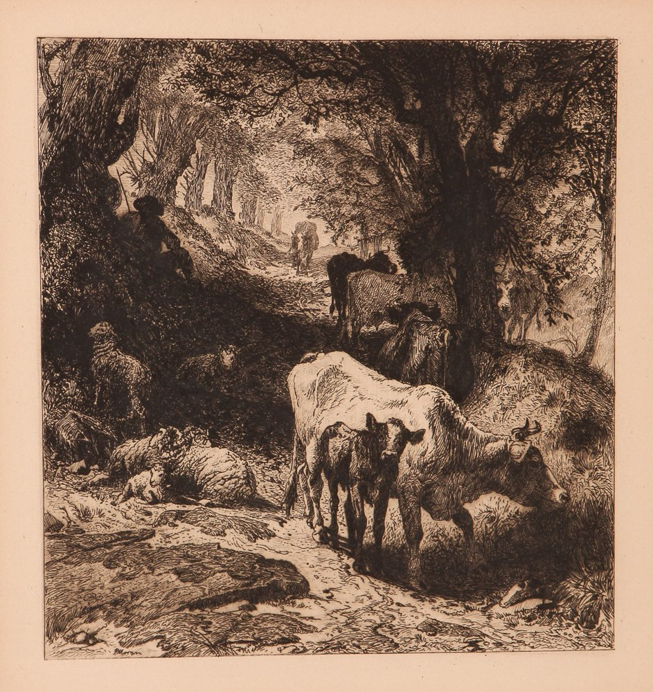 """Peter Moran etching """"Cattle in the Forest"""""""