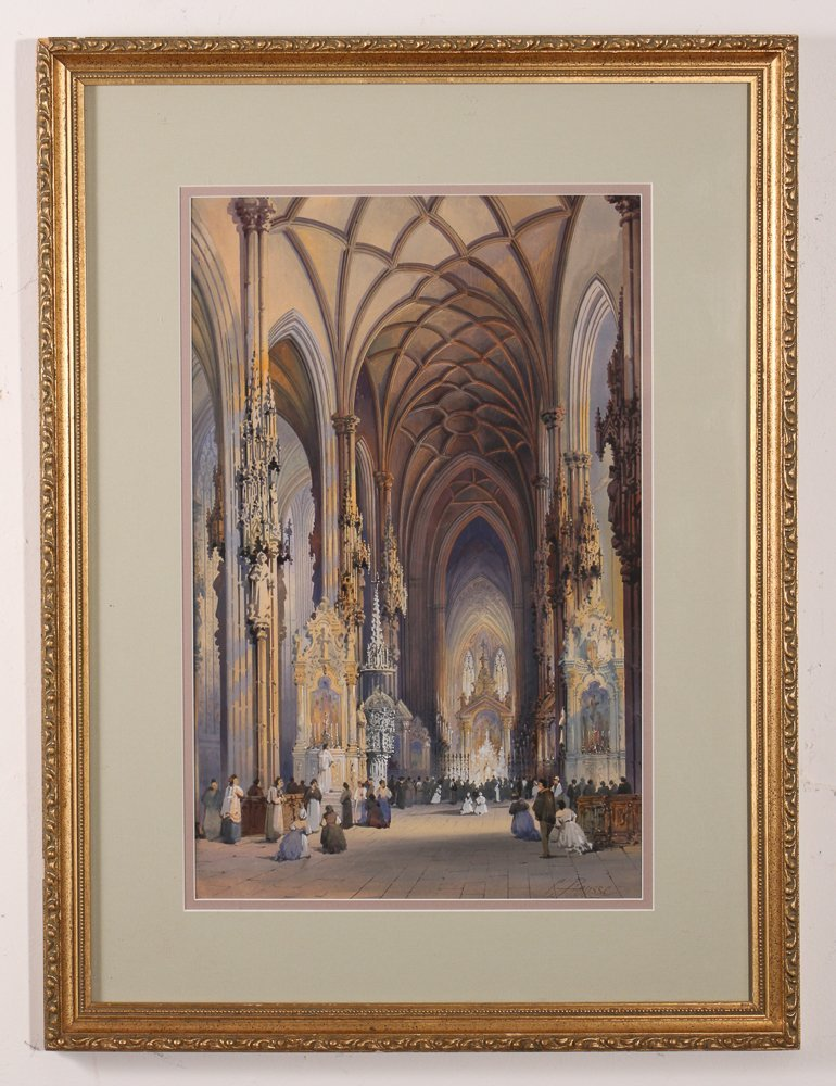 Rousee Cathedral Interior Watercolor - 2
