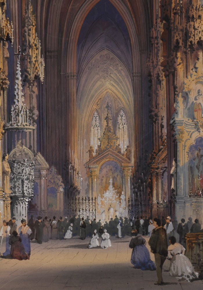 Rousee Cathedral Interior Watercolor - 4