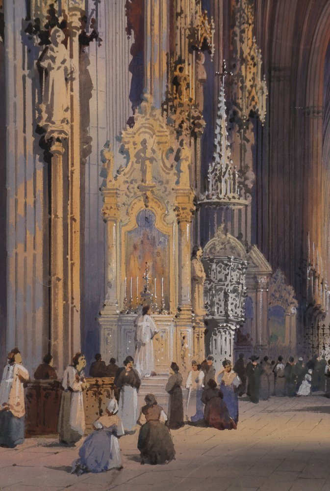 Rousee Cathedral Interior Watercolor - 5