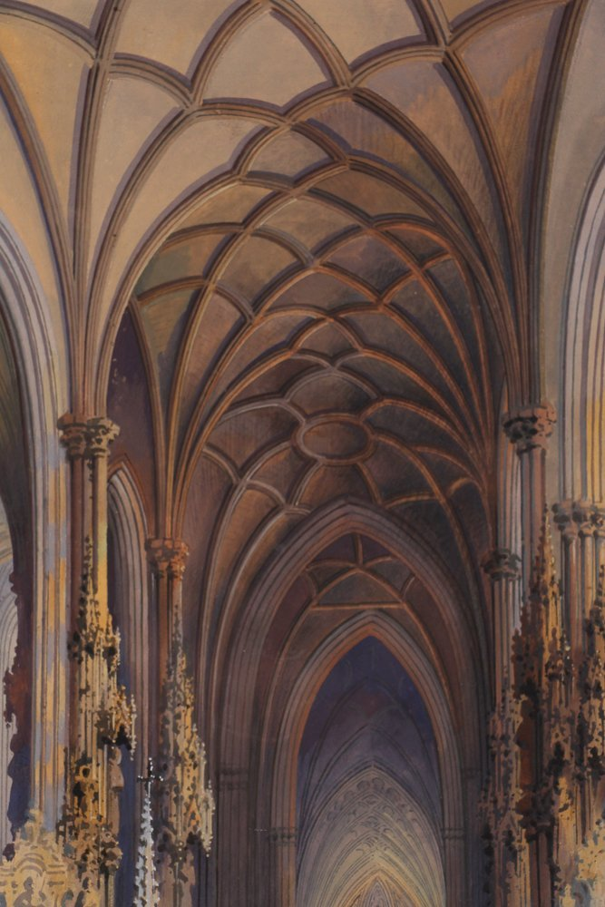 Rousee Cathedral Interior Watercolor - 6