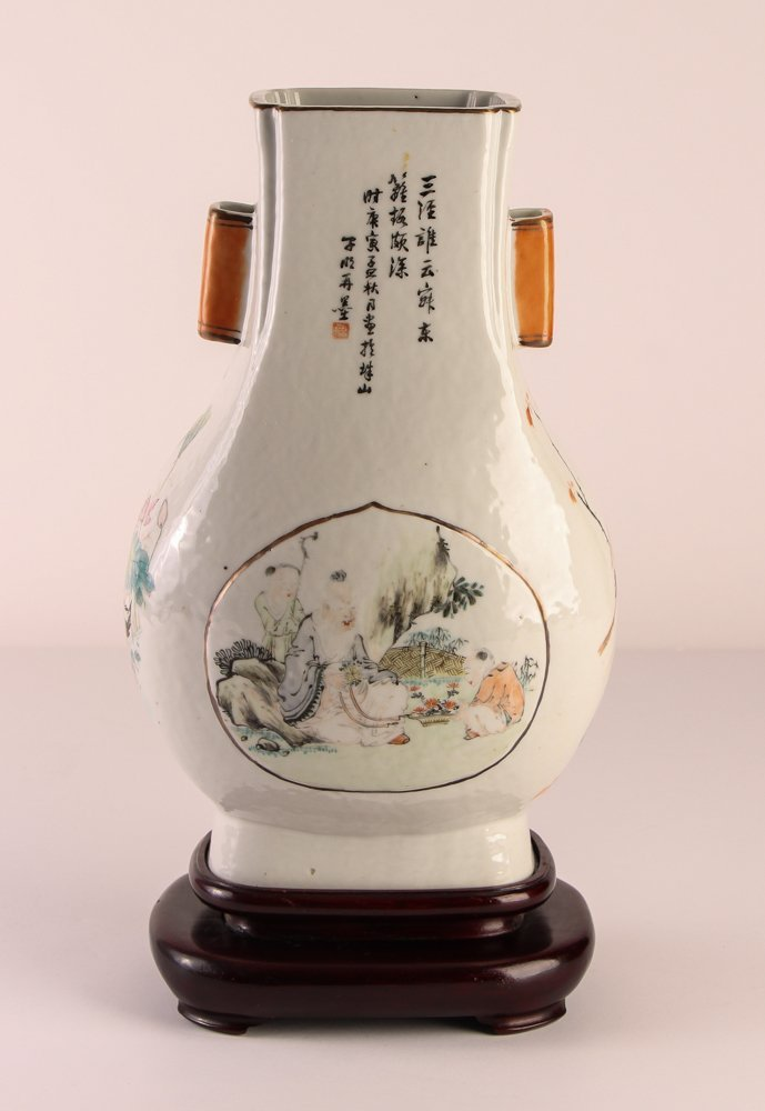 Chinese Famille Verte Porcelain Vase with Two handles