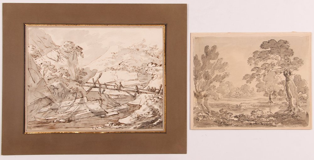 2 18th C. Landscape drawings, J. Cristall and E. Becker