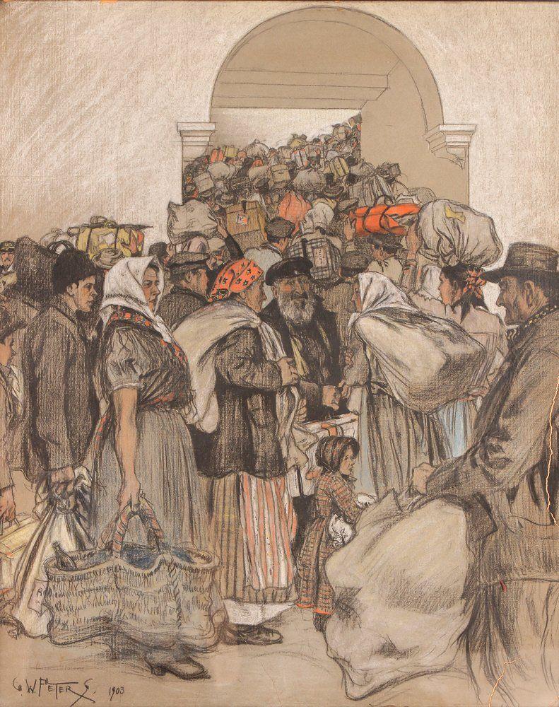 """G. W. Peters 1903 drawing """"Ellis Island"""""""