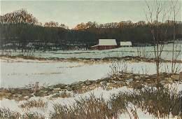 """Eric Sloane oil ptg. """"Berkshire Winter"""""""
