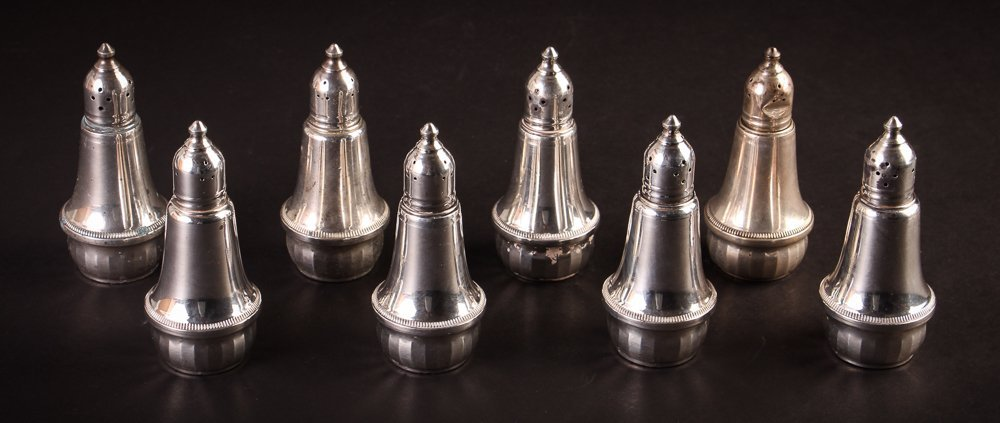Eight Weighted Sterling Silver Shakers