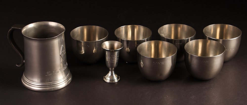 6 Steiff Pewter Engraved Jefferson Cups w/Phi Gamma