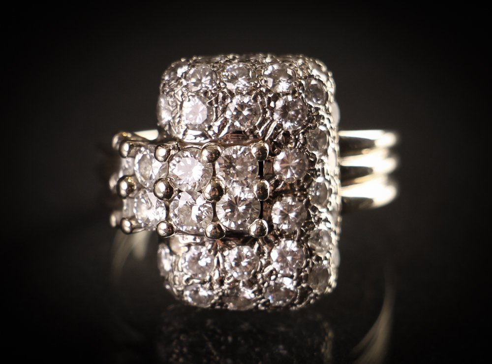 Diamond and 14k White Gold Cocktail Ring
